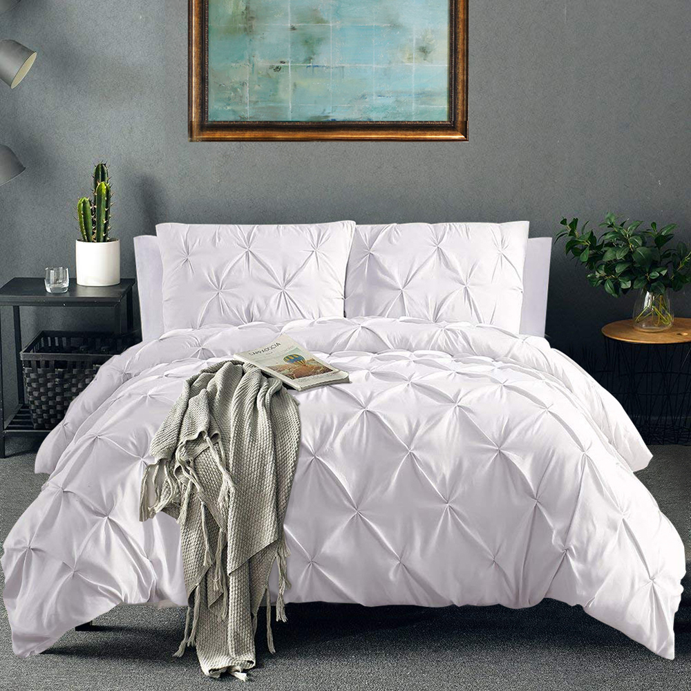 Pinch Pleat Bedding Set White Comforter Bedding Sets Linens Pin Tuck Duvet Cover Set And Pillowcase Queen King Size Bedclothes