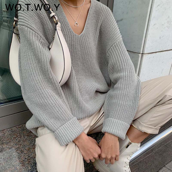 WOTWOY Autumn Winter V-Neck Knitted Sweater Women Long Sleeve Solid Basic Jumpers Female Cashmere Oversized Pullovers Knit Tops women oversized sweater and pullovers oneck sweet heart letters printed pull jumpers long sleeve pink streetwear knit tops