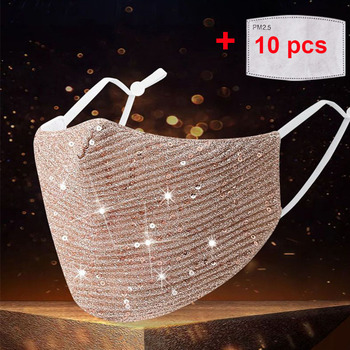 Fashion Sequin mask Cotton Keep Warm anti-haze Masks Shining Party unisex Breathable Mouth Respirator Washable Face Cover - discount item  50% OFF Workplace Safety Supplies