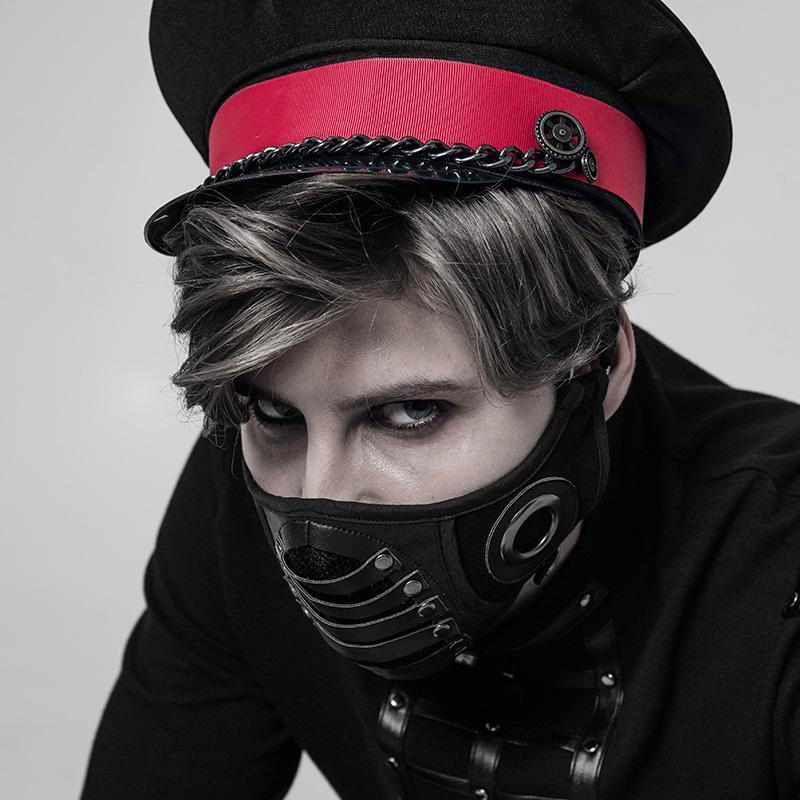 Punk Rave Men's Goth Faux Leather Face Mask WS-270KZM