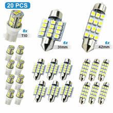 14/20PCS Car LED Bulbs For Car White LED Car Interior Inside Light Dome Trunk Map License Plate Lamp Bulbs