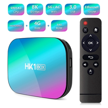 HK1 Box Amlogic S905X3 4GB RAM 64GB ROM 5G WIFI Bluetooth 4.0 1000M LAN Android 9.0 4K 8K H.265 TV Box (EU Plug)