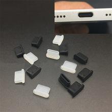 5 pçs silicone tipo-c anti poeira plug porto de carregamento protetor capa para samsung huawei xiaomi acessórios do telefone celular