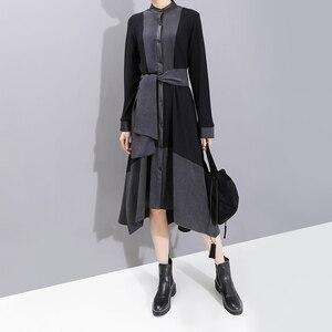 Image 4 - 2019 ใหม่ยุโรปแฟชั่นผู้หญิงแขนยาวผู้หญิงฤดูหนาวเสื้อสีดำชุด Sashes Patchwork สุภาพสตรีปาร์ตี้ Robe 5743