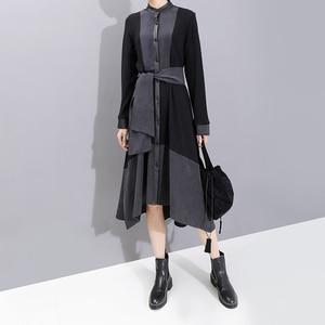 Image 4 - Nuevo 2019 moda europea manga completa mujer invierno negro camisa vestido con Sashes Patchwork señoras elegante vestido de fiesta bata 5743