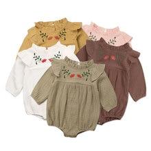 Vintage Flower Newborn Baby Girl Romper Long Sleeve Jumpsuit Embroidery Floral P