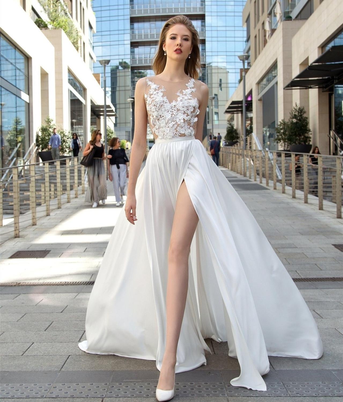 2020 Wedding Dress Scoop Floor Length Chiffon Sleeveless Bridal Gowns Lace Beach Side Slit Rustic Vestidos De Fiesta Largos Ele