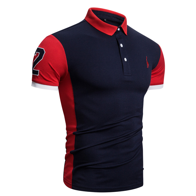 2020 New Summer Cotton POLO Shirt Men Giraffe Brand Embroidery Polo Shirt Men High Quality Short Sleeve England Style Mens Polos