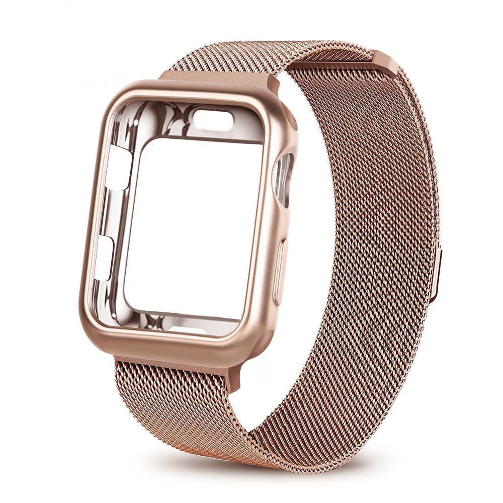 Kılıf + saat kayışı Apple Watch için 4 5 3 iwatch bileklik 42mm 38mm Milanese döngü bilezik paslanmaz çelik saat kayışı 5 4 3 2 1