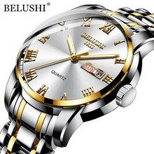BELUSHI Herrenmode Business Quarz Handgelenk Uhren Edelstahl Wasserdicht Analoge Uhr Männer Kalender Uhr 2021 Neue Uhren