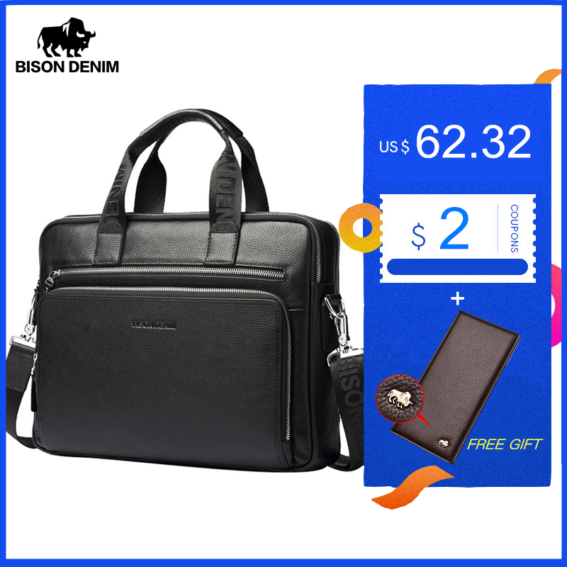 BISON DENIM Genuine leather Briefcases 14'' Laptop Handbag Men's Business Crossbody Bag Messenger/Shoulder Bags for Men N2333-3