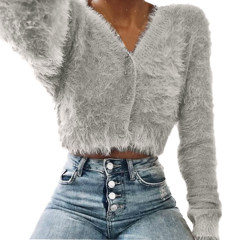 Women Fashion Cropped Sweater Cardigan V-neck Long Sleeve Furry Casual Sweater Crop Popular Tops Cute Sweater Vetement Femme