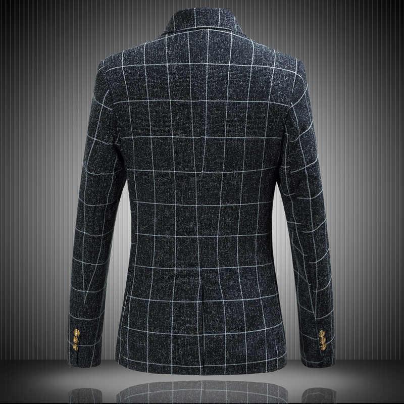 品質男性の単一のボタンブレザーレトロクラシックチェック柄スリムスーツジャケットワイン赤グレーファッションビジネスカジュアルブレザーサイズ s-6XL