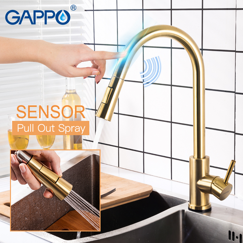 GAPPO Touch Control Kitchen Faucets Stainless Steel Smart Sensor Kitchen Mixer Gold Touch Faucet For Kitchen Pull Out Sink Taps