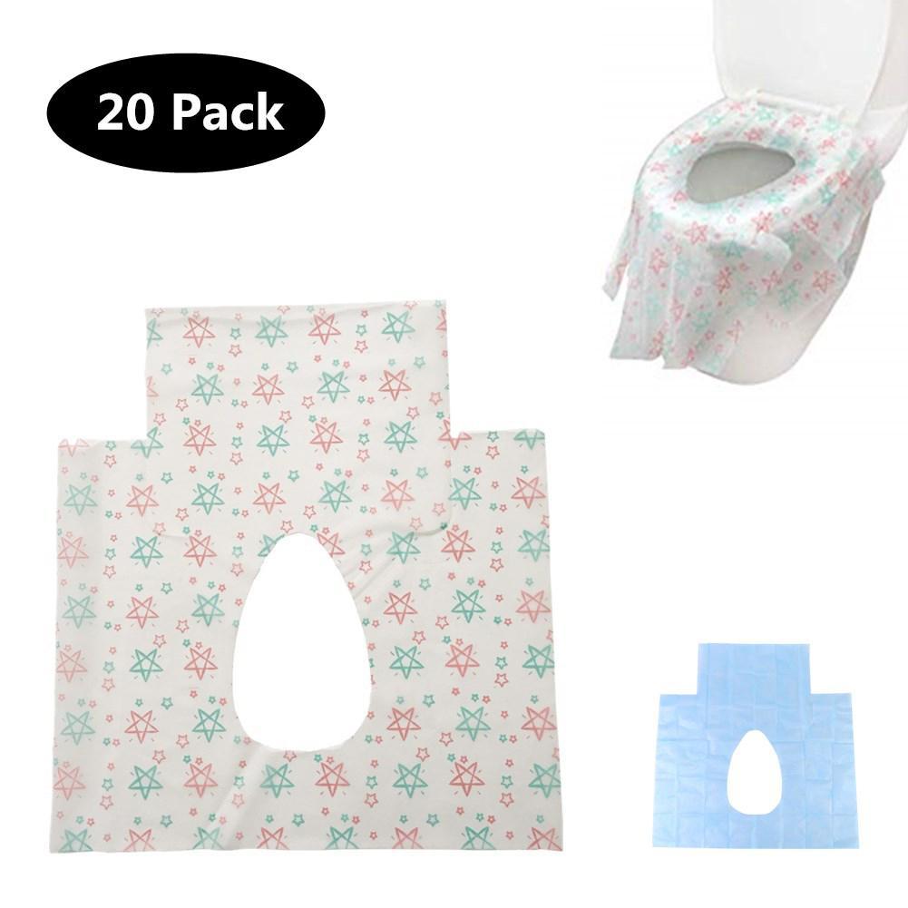 20 ชิ้น/แพ็คแบบพกพา Disposable Toilet Seat แบคทีเรียกันน้ำ-หลักฐานไม่ทอสำหรับเด็กผู้ใหญ่เดินทาง/แคมป์ห้อง...