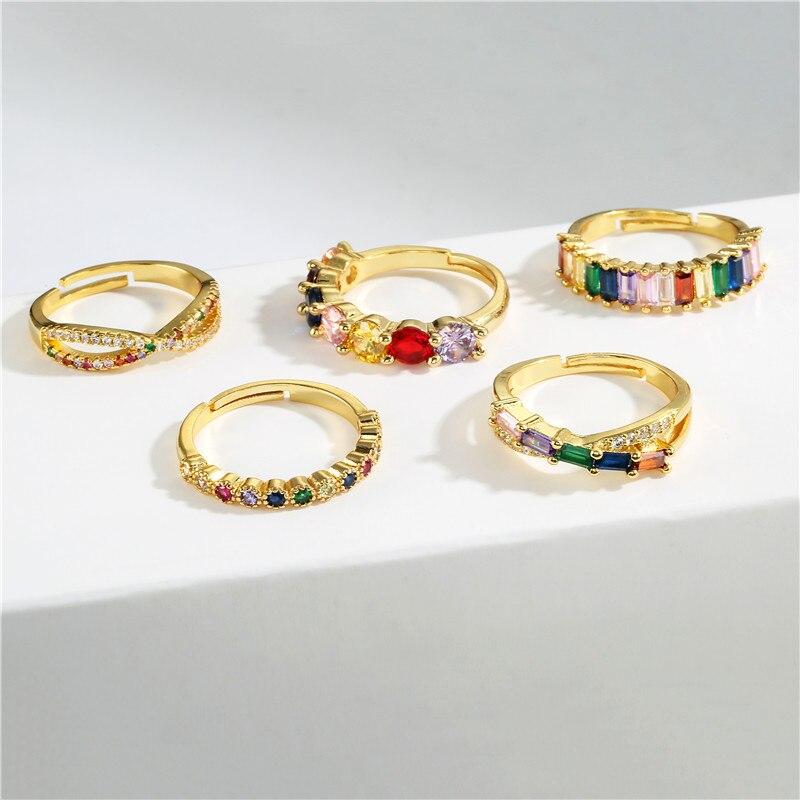 NEWBUY модное обручальное кольцо с радужным камнем CZ для женщин золотого цвета Корона сглаза Открытое кольцо Регулируемый размер ювелирные из...