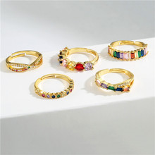 NEWBUY Fashion Rainbow Color CZ Stone Wedding Ring For Women Gold Color Crown Evil Eye Open Ring Adjustable Size Party Jewelry