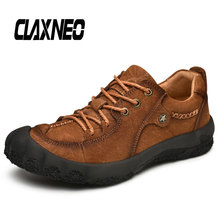 CLAXNEO Man Leather Boots Autumn Male Ankle Boot Genuine Leather Mens Shoes Walking Footwear Big Size цены онлайн