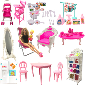NK Mix Doll Toys Mini Mirror Bed Table Kitchen Fridge For Barbie Accessories for Kelly Tableware DIY Play house Furniture JJ