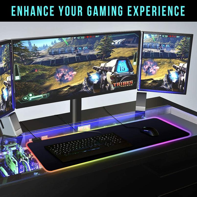 RGB коврик для мыши, игровой коврик для мыши, большой компьютерный коврик для мыши с подсветкой XXL, коврики для мыши со светодиодный подсветкой, коврик для геймеров 900x400, Настольный коврик для CS-5