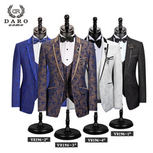 Men Suit Vest Jacket Wedding-Tuxedo Blazer-Pattern Slim-Fit Custom Royalblue White New-Style