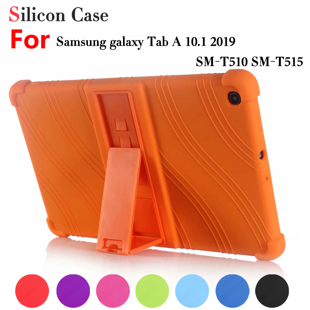 Silicon Case for Samsung Galaxy Tab A 2019 SM-T510 SM-T515 T510 T515 10.1Tablet Stand Cover for Tab A 10.1'' 2019 Soft Case image