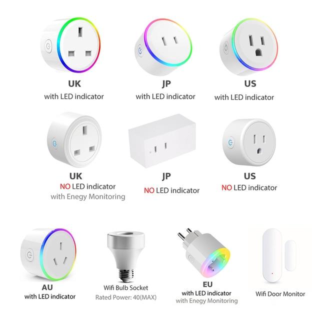 WiFi 스위치 미니 소켓 플러그 타이머, 조광기 LED 조명, 스마트 홈이있는 무선 원격 제어 콘센트 Alexa google과 호환 가능