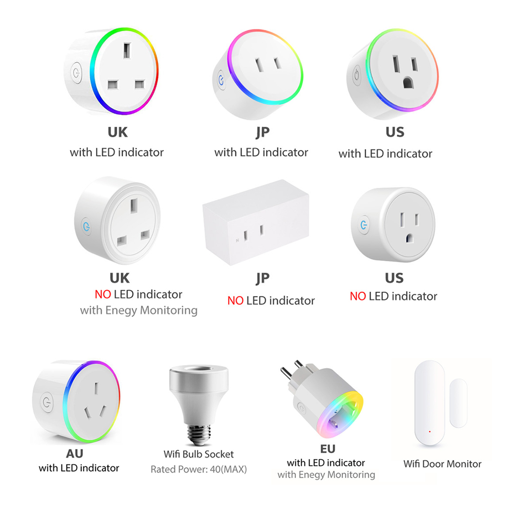 WiFi Switch Mini Socket Plug Wireless Remote Control Outlet with Timer,Dimmer LED Light, Smart Home Compatible with Alexa GoogleSmart Power Socket Plug   -
