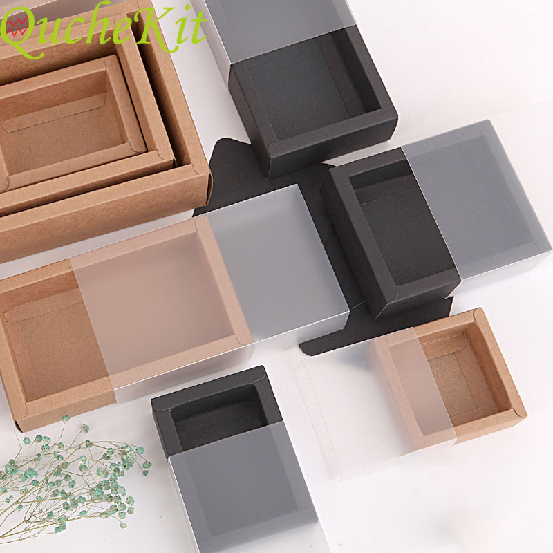 10 stücke Kraft Papier Verpackung Box Mit Transparent PVC Fenster Schwarz Zarte Schublade Display Geschenk Box Hochzeit Süßigkeiten Cookie Kuchen boxen