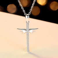 Cross Pendant Trendy Jewelry Real 925 Sterling Silver Necklace Angel Wing Shiny Cubic Zircon Necklace Hot Girls Dating Wearing