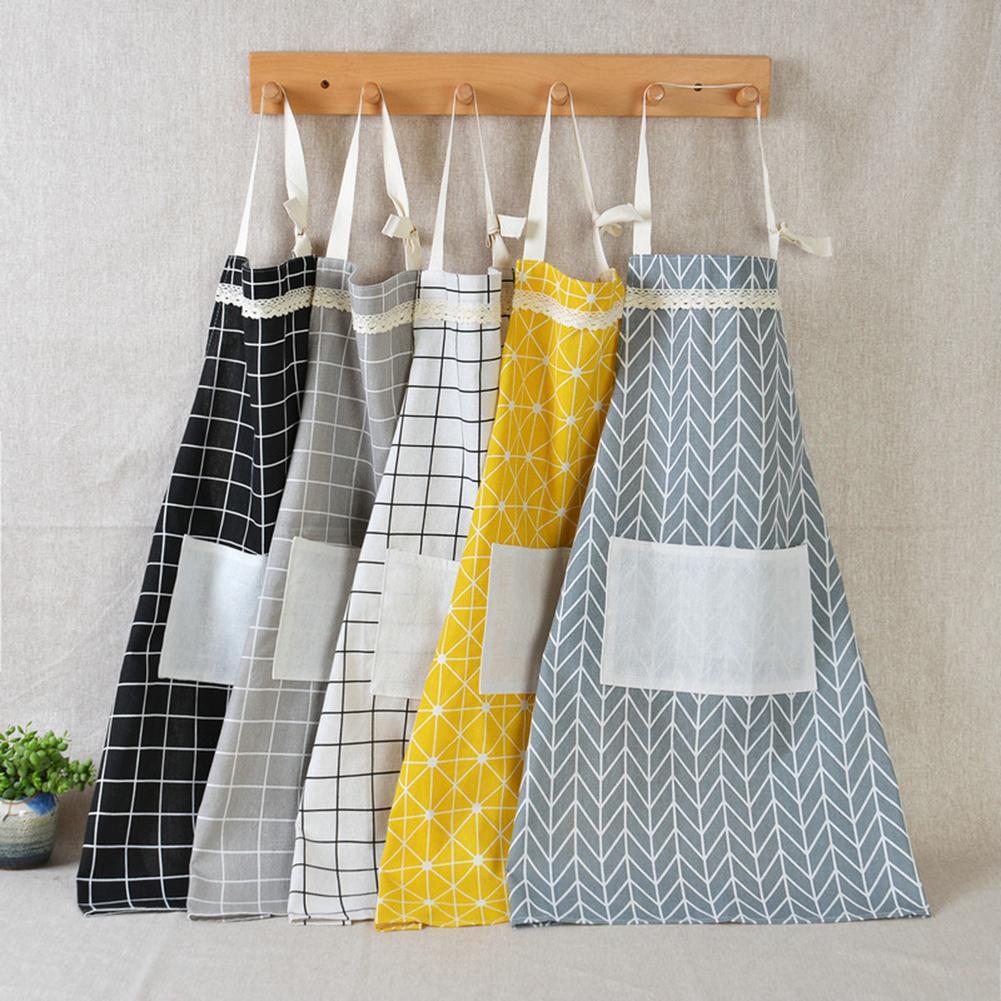 Fashion Cute Unisex Plaid Sleeveless Pocket Overall Kitchen Cooking Baking Apron
