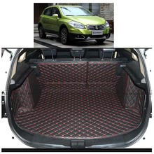 цены Lsrtw2017 Leather Car Trunk Mat Cargo Mat Cargo Liner for Suzuki S-cross Suzuki Sx4 SX4 Crossover 2014 2015 2016 2017 2018 2019