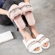 SFIT Women Home Slippers Winter Warm Shoes Woman Slip On Flats Slides Female Faux Fur Slippers Indoor Shoes Woman Flip Flops couple slippers fur slides for men women indoor slippers female winter plush insole rubber sole comfort cotton shoes flip flops