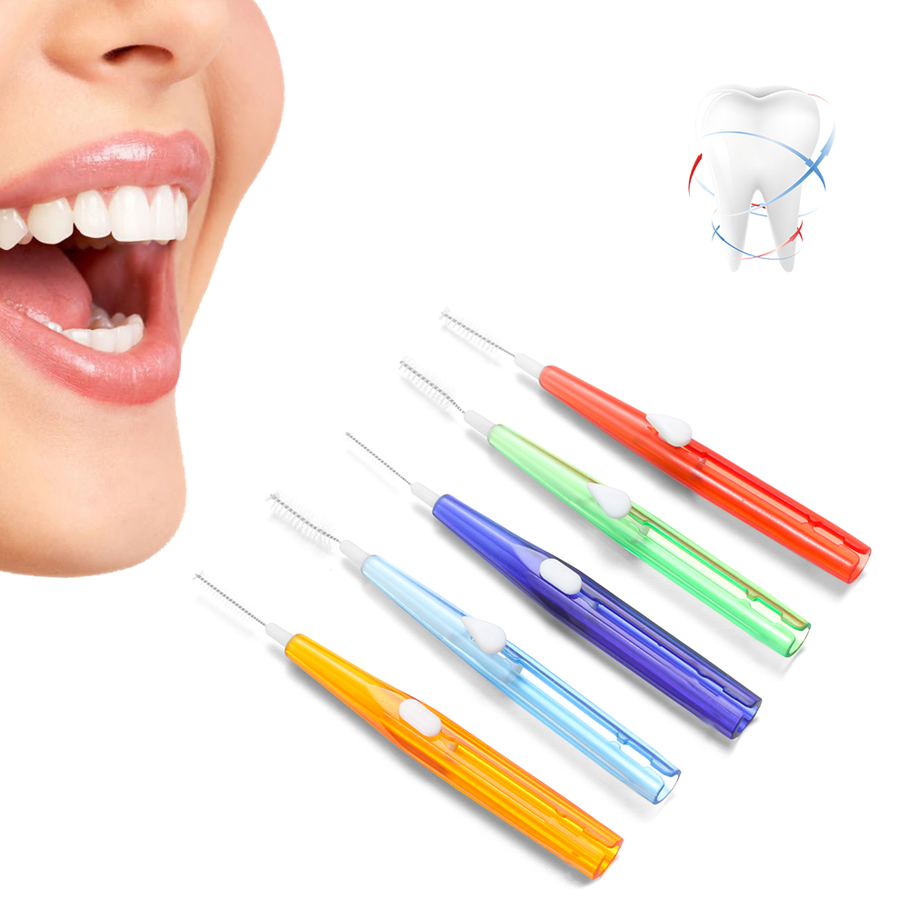 10Pc Dental Oral Hygiene Push-pull Interdental Brush Adults Tooth Cleaning Floss Brush Tooth Pick Toothpick Oral Cleaning Tool