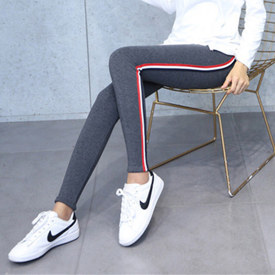 High Quality Cotton Leggings Side Stripes Women Casual Leggings Plus Size 5XL High Waist Fitness Leggings Plump Female Leggings