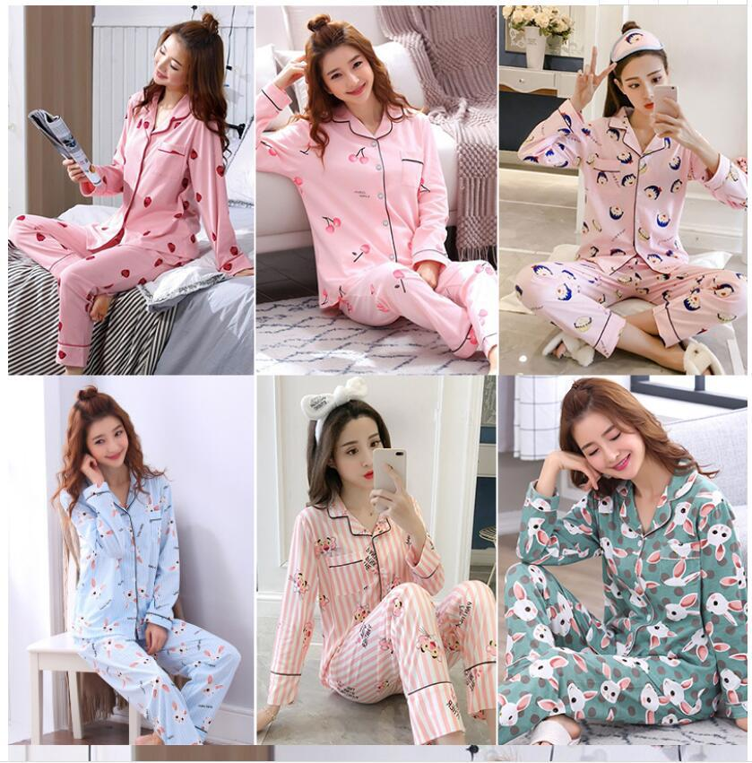 Autumn Winter Lady Women Pajamas Set Cartoon Nightwear Girl Sleepwear Long Pyjamas Suit Female Clothing Set 2019 Home Service