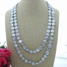 N062104 54'' 14mm Grey Coin Freshwater Cultured Pearl Necklace(China)
