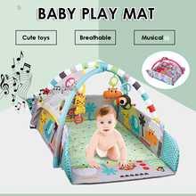 Bebê ginásio playmat criança atividade bolas de brinquedo musical piso tapete rastejando 5 em 1 infantil jogar esteira bonecas brinquedos ginásio cerca rack