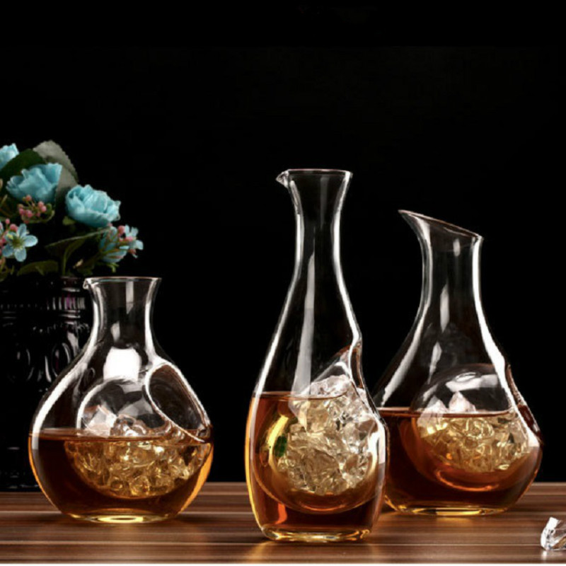 Ice Hip Flask 300-400ml Whiskey 2 Styles Lead-free Crystal Creative Wine Decanter Wine Wine Dispenser Bottles Wine Glass Cup Bar