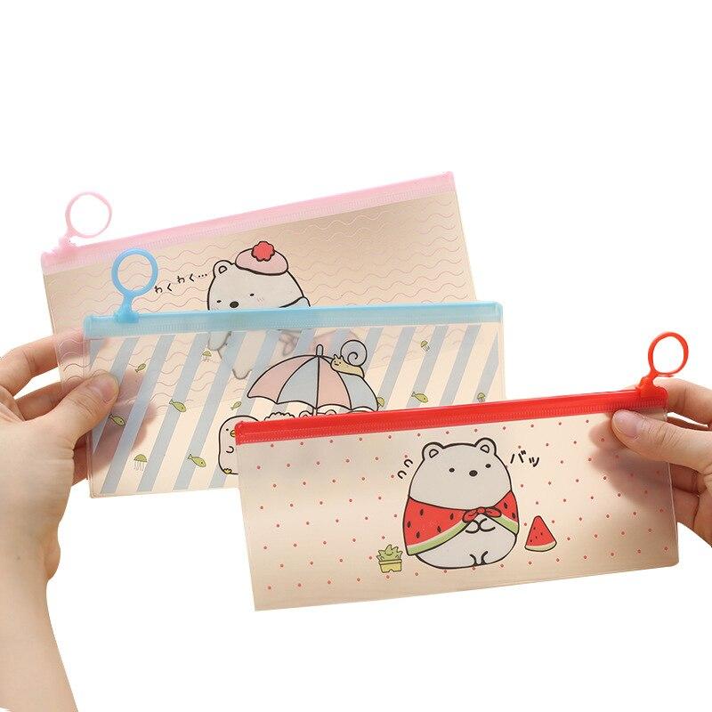 10 Pcs Mini Cartoon Print File Bag Plastic Zippered Folder Clear Pouch File Document Holder Case School Offuce Supply