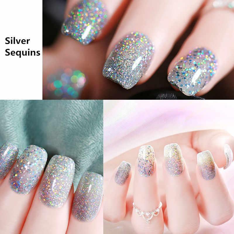 UR Gula 7.5Ml Glitter UV Gel Nail Polish Laser Silver Series Led Nail Gel Varnish Bersinar Cat Kuku Payet gel