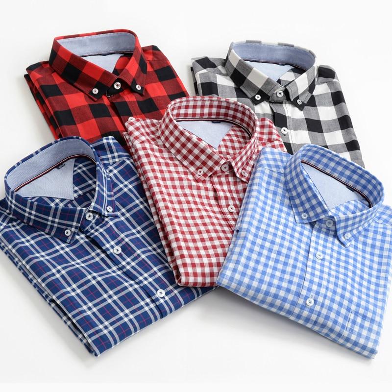 Size Men Shirts 10XL 9XL 8XL 7XL 6XL 5XL Summer New Classic Style 100% Cotton Plaid Short-sleeved Shirt Male Brand Clothes