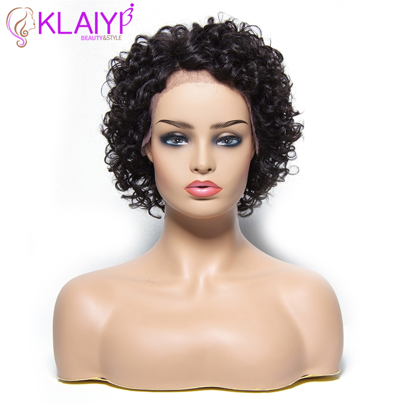 Klaiyi Hiar Short Curly  Human Hair Wigs For Women Lace Front Human Hair Wigs Brazilian Remy Hair Wigs Natural Color