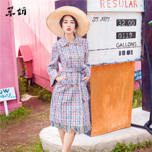 2019 Luxury Fall Winter Women Woollen Coat Runway Colour Plaid Tweed Tassel Double Breasted Slim Ladies Vintage Sashes Wool Coat(China)