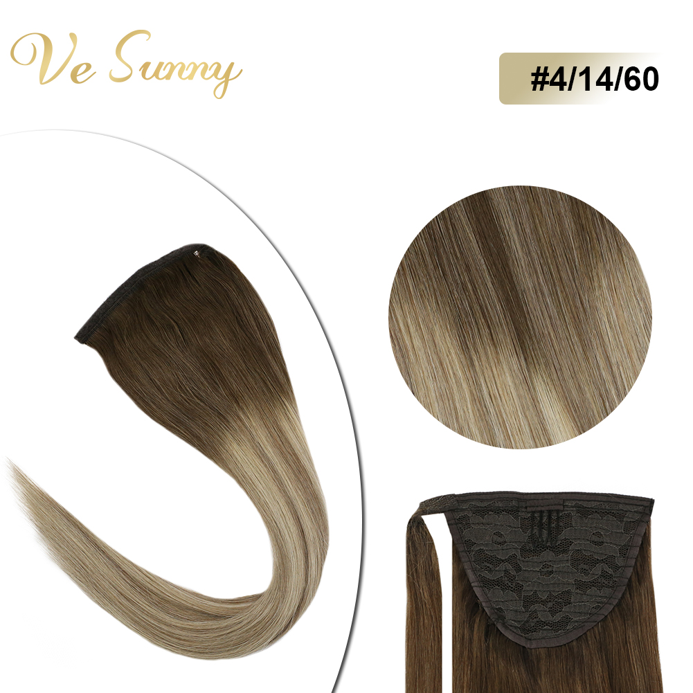 VeSunny Ponytail Extensions Wrap Around Magic Tape100% Real Human Hair Balayage Highlighted Brown Mix Blonde #4/14/60