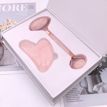 Rodillo de cuarzo rosa de Jade para masaje Facial, herramienta de levantamiento Facial en polvo, rodillo de cristal para mascarilla de afeitar, cepillo de tres piezas, herramienta de belleza para el cuidado de la piel