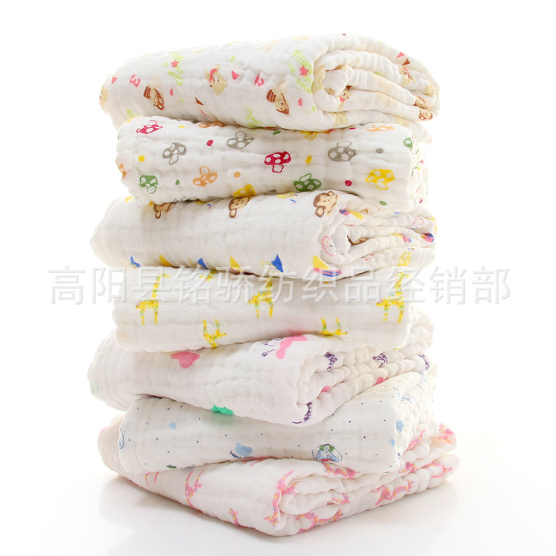 Pure Cotton Children Gauze Foamed Cotton Bath Towel Newborns Bath Gro-bag Infant Blanket Airable Cover Six-layer Pure Cotton