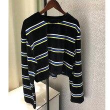 2019 Autumn Long Sleeve Bottoming Shirt Loose Horizontal Stripes Black T-shirt for Women O-Neck Striped Shirts Woman Clothes