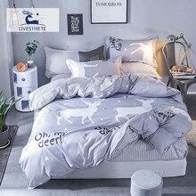 Liv-Esthete Fashion Cartoon My Deer Bedding Set Soft Printed Duvet Cover Pillowcase Double Queen King Bed Linen Flat Sheet