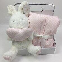 75*100cm Heißer Verkauf Geschenk Box Mit Niedlichen Tier Puppe + Decke Korallen Samt Baby Bettwäsche Kaninchen Elefanten plüsch Spielzeug